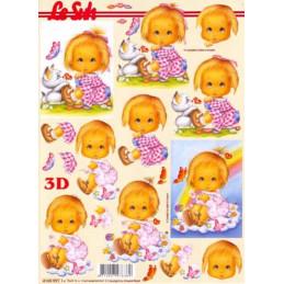 Carte 3D à découper - Fille et chaton - 4169991