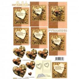 Carte 3D à découper - Cœurs encastrés - 630023