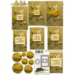 Carte 3D à découper - Roses jaunes - 630044