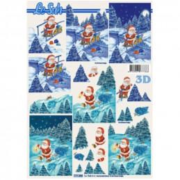 Carte 3D à découper - Père Noël en forêt - 777080