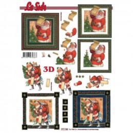 Carte 3D à découper - Père Noël liste de cadeaux - 777135