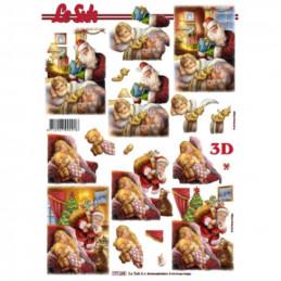 Carte 3D à découper - Père Noël  et fillettes - 777198
