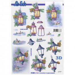 Carte 3D à découper - Lanternes avec bougies - 777085