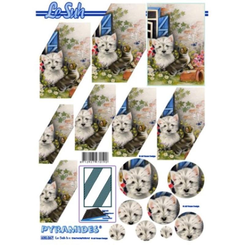 Carte 3D à découper - Pyramide chien chat - 630067