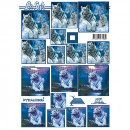 Carte 3D à découper - Tigre blanc - 630157