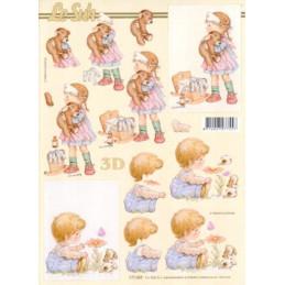 Carte 3D à découper - Petite fille et ourson - 777009