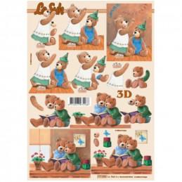 Carte 3D à découper - Oursons lisent/fête - 777026