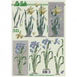 Carte 3D à découper - Fleur jaunes/bleues - 777054