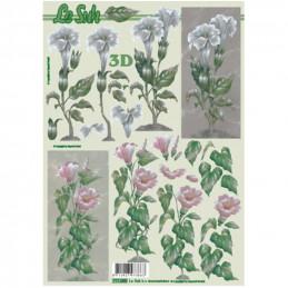 Carte 3D à découper - Fleur blanches/roses - 777055