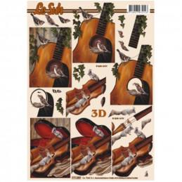 Carte 3D à découper -  Violon/guitare/écureuil - 777059