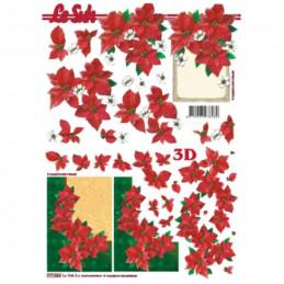 Carte 3D à découper - Poinsettias encadrées - 777084