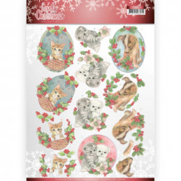 Carte 3D à découper - CD11375 - Lovely Christmas - Chatons et chiots à Noël