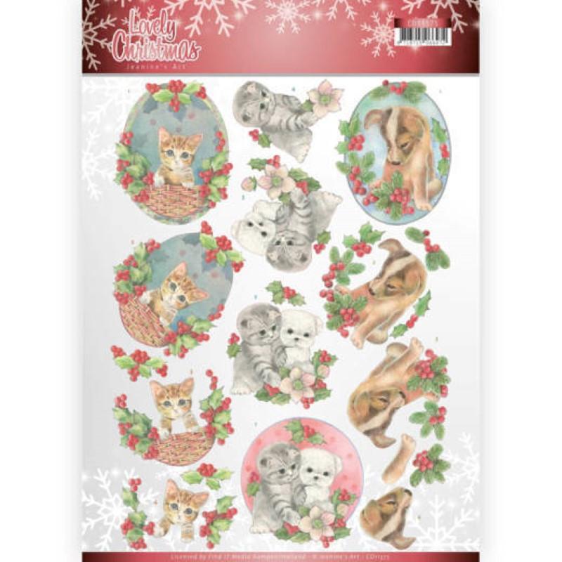 Carte 3D à découper - CD11375 - Lovely Christmas - Chatons et chiots à Noël