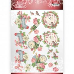 Carte 3D à découper - CD11377 - Lovely Christmas - L'heure de Noël