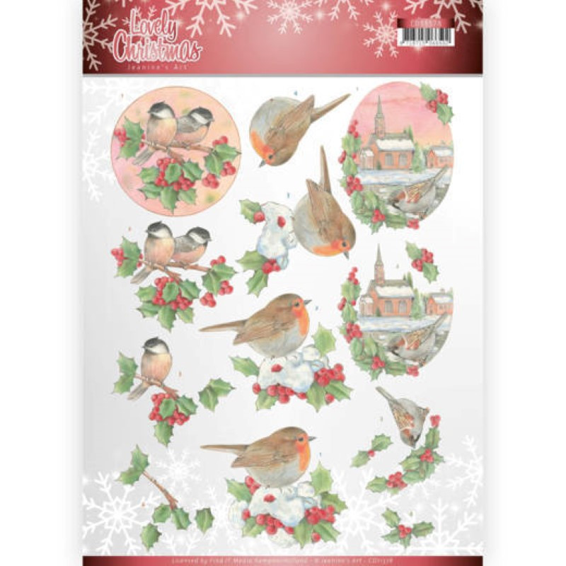Carte 3D à découper - CD11378 - Lovely Christmas - OIseaux à Noël