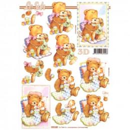 Carte 3D à découper -  2 bébés avec oursons - 777127