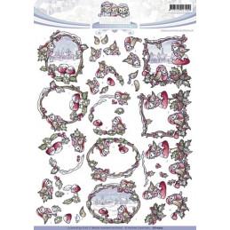 Carte 3D à découper - CD10519 - paysage hiver et oiseaux