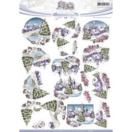 Carte 3D à découper - CD10521 - Paysage de Noël - Yvonne créations