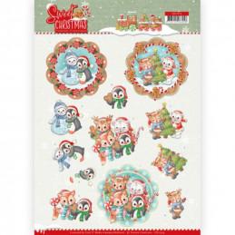 Carte 3D à découper - CD11374 - Lovely Christmas - Petits animaux de Noël
