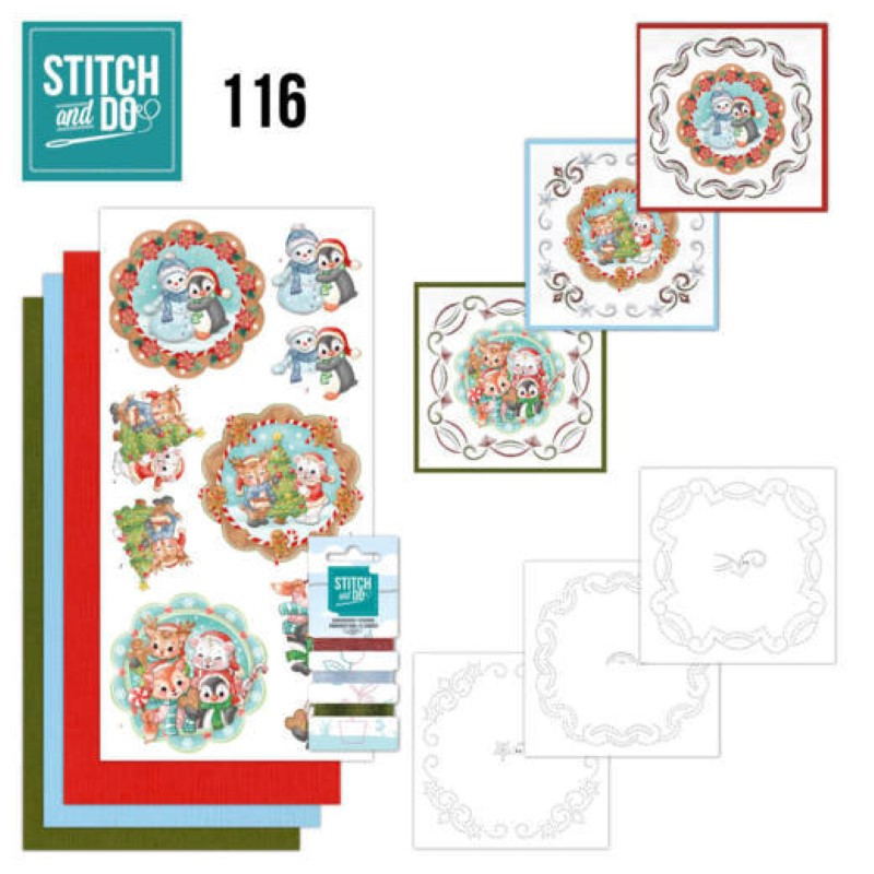 Stitch and do 116 - kit Carte 3D broderie -  doux animaux d'hiver