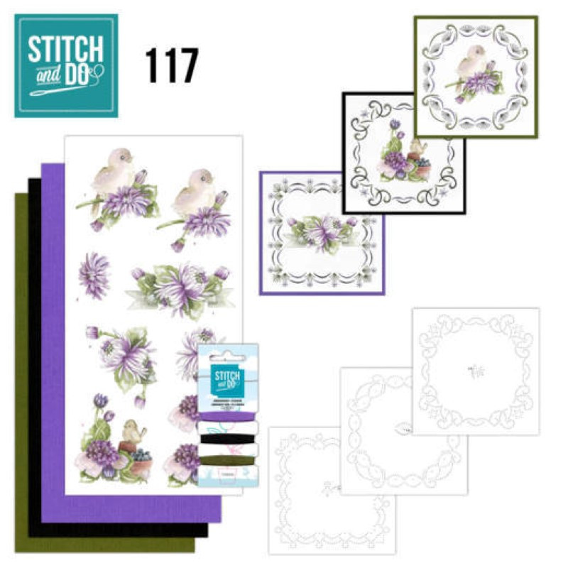 Stitch and do 117 - kit Carte 3D broderie - Chrysanthèmes