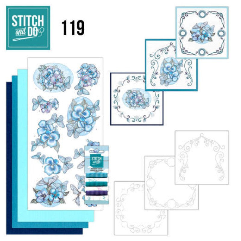 Stitch and do 119 - kit Carte 3D broderie - Papillons bleus