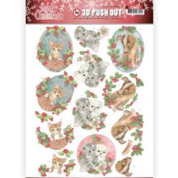 Carte 3D prédéc. - SB10387 - Lovely Christmas - Petits animaux à Noël