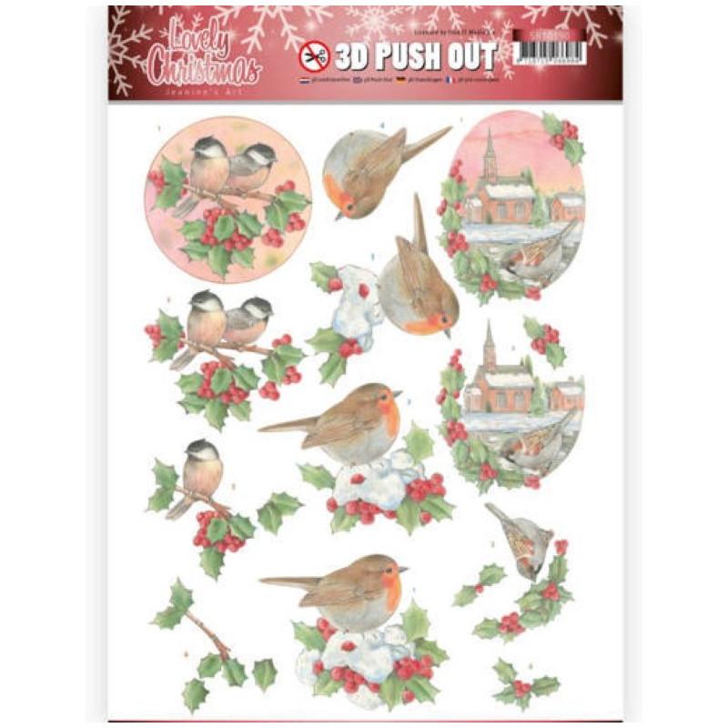 Carte 3D prédéc. - SB10390 - Lovely Christmas - Oiseaux de Noël
