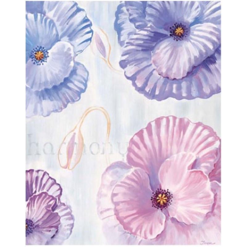 Image 3D - 2000813 - 40x50 - 4 Fleurs bleu/rose/mauve