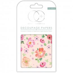 Papier patch 3 feuilles 35x40 cm Fleurs pastel