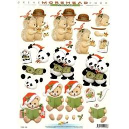 Carte 3D à découper - 11052056 - Hérisson panda ourson