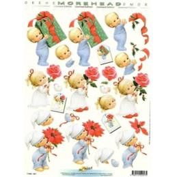 Carte 3D à découper - 11052057 -  Enfant porte cadeau vert/rose