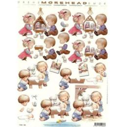 Carte 3D à découper - 11052064 - Carterie 3D A4  - enfants devant la crèche