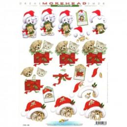 Carte 3D à découper - 11052086 - Chiot/chat cadeau de Noël