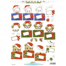 Carte 3D à découper - 11052090 - Lapin/chiot/ourson Noël