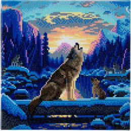 Broderie Diamant Crystal Art Kit tableau 30x30cm Loups