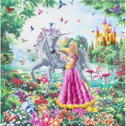 Broderie diamant Crystal Art Kit tableau 30x30cm  Princesse & Licorne