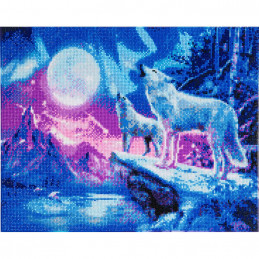 Broderie diamant Crystal Art Kit tableau 40x50cm Loups