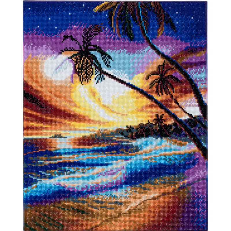 Broderie diamant Crystal Art Kit tableau 40x50cm Plage tropicale