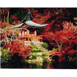 Broderie diamant Crystal Art Kit tableau 40x50cm Temple japonais