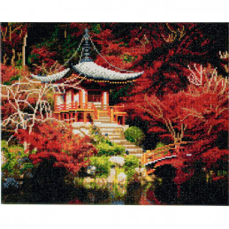 Broderie diamant Crystal Art Kit tableau 40x50cm Temple japonais
