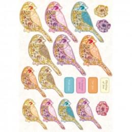 Carte prédécoupée - PCT1498 - Oiseaux colorés dorés