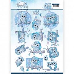 Carte 3D à découper - CD11401 - Sparking Winter - Chouettes en hiver