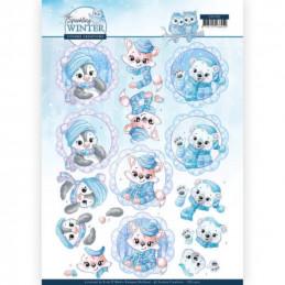 Carte 3D à découper - CD11402 - Sparking Winter - Petits animaux en hiver