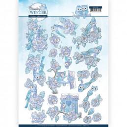 Carte 3D à découper - CD11403 - Sparking Winter - Oiseaux en hiver