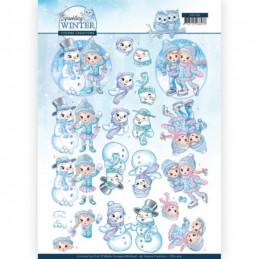 Carte 3D à découper - CD11404 - Sparking Winter - Enfants et bonhommes de neige