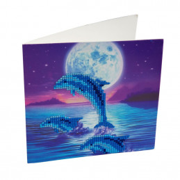 Crystal Art Kit Carte broderie diamant 18x18cm Dauphins