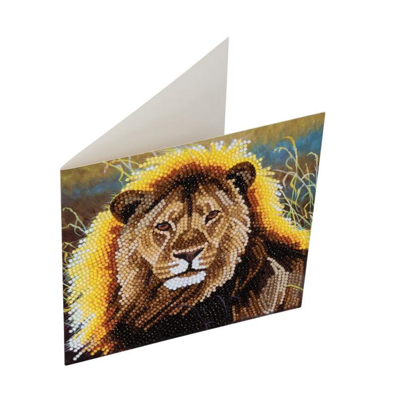 Crystal Art Kit Carte broderie diamant 18x18cm Lion