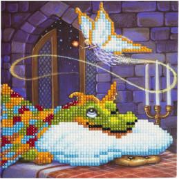 Crystal Art Kit Carte broderie diamant 18x18cm Fée et dragon
