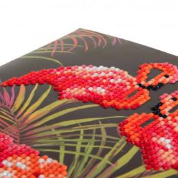 Crystal Art Kit Carte broderie diamant 18x18cm Flamants rose